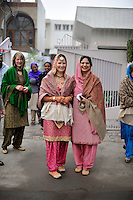 At the wedding ceremony of British/Punjabi couple Lindsay and Navneet Singh at a gurdwara in Amritsar, the bride poses with her soon-to-be mother-in-law.