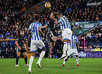 Burnley's Ashley Barnes competing with Huddersfield Town's Mathias Zanka Jorgensen<br /> <br /> Photographer Andrew Kearns/CameraSport<br /> <br /> The Premier League - Huddersfield Town v Burnley - Wednesday 2nd January 2019 - John Smith's Stadium - Huddersfield<br /> <br /> World Copyright © 2019 CameraSport. All rights reserved. 43 Linden Ave. Countesthorpe. Leicester. England. LE8 5PG - Tel: +44 (0) 116 277 4147 - admin@camerasport.com - www.camerasport.com