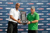 8 November 2015:  Marshall's Coach Kevin Long is presented with the Second Place trophy after the match as the University of North Texas Mean Green defeated the Marshall University Thundering Herd, 1-0, in the Conference USA championship game at University Park Stadium in Miami, Florida.