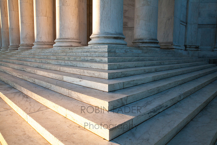 Morning sunrise sheds its light on the steps of the Jefferson Memorial.