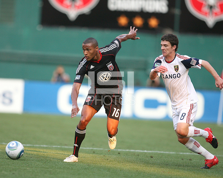 Jordan Graye #16 of D.C. United sends th ball away from Will Johnson #8 of Real Salt Lake during an Open Cup match at RFK Stadium, on June 2 2010 in Washington DC. DC United won 2-1.