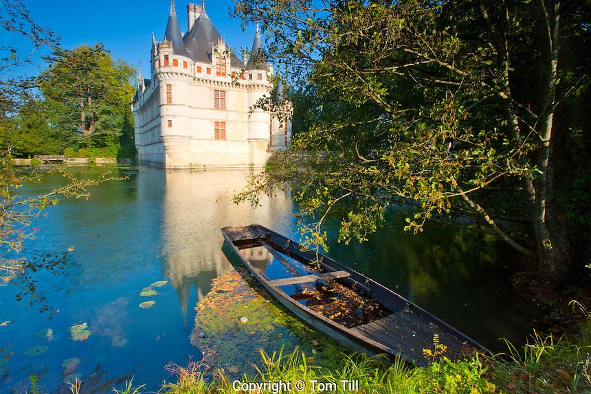 D'Azay-le-Rideau Castle    .Loire Valley, France.Castle built in Middle Ages on Indre River
