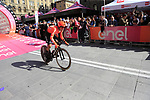 Amoro Antunes (POR) CCC Team off the start ramp of Stage 1 of the 2019 Giro d'Italia, an individual time trial running 8km from Bologna to the Sanctuary of San Luca, Bologna, Italy. 11th May 2019.<br /> Picture: Eoin Clarke | Cyclefile<br /> <br /> All photos usage must carry mandatory copyright credit (© Cyclefile | Eoin Clarke)