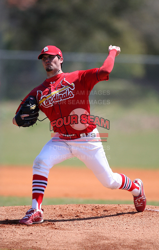 March 19, 2010:  Pitcher Justin Edwards of the St. Louis Cardinals organization during Spring Training at the Roger Dean Stadium Complex in Jupiter, FL.  Photo By Mike Janes/Four Seam Images