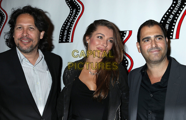 Natalia Tarnowska (c) &amp; guests<br /> 13th annual Polish film festival at American Cinematheque's Egyptian Theatre, Hollywood, California, USA.<br /> 9th October 2012<br /> half length black jacket dress suit white shirt grey gray stubble facial hair <br /> CAP/ADM/RE<br /> &copy;Russ Elliot/AdMedia/Capital Pictures