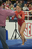 NWA Democrat-Gazette/ANDY SHUPE<br />Arkansas' Amanda Wellick celebrates Friday, Jan. 12, 2018, after her vault during the 11th-ranked Razorbacks' meet with sixth-ranked Kentucky in Barnhill Arena in Fayetteville. Visit nwadg.com/photos to see more photographs from the meet.