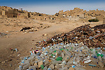 Plastic bottles, tin cans, and other items lay discarded in the 13th century mud-brick fortress of Shali, in Siwa Town of the Siwa Oasis, near the Libyan border in Egypt.