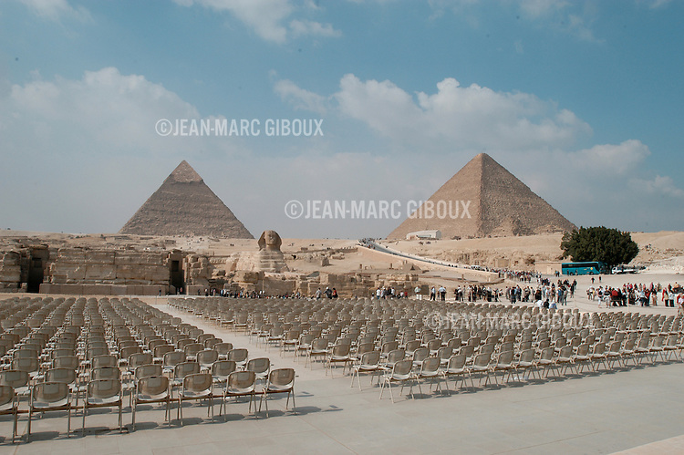 CAIRO - NOVEMBER 30, 2004 : The auditorium for the 'light and sound' show sits in front of the 5000 years old Giza pyramids in Cairo, on November 30, 2004. Sitauated high on a desert plateau overlooking sprawling Cairo, Giza is the most visited tourist site in Egypt ,with the Sphinx and the 481ft high great Pyramid. Tourism has been on the decline in Egypt following a series of terrorist attacks targeting foreign tourists. (Photo by Jean-Marc Giboux)