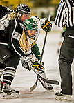 13 November 2015: University of Vermont Catamount Forward Bridget Baker, a Junior from Los Gatos, CA, takes a face-off against Providence College Friar Forward Danielle Hardy, a Freshman from Naniamo, British Columbia, at Gutterson Fieldhouse in Burlington, Vermont. The Lady Friars defeated the Lady Cats 4-1 in Hockey East play. Mandatory Credit: Ed Wolfstein Photo *** RAW (NEF) Image File Available ***