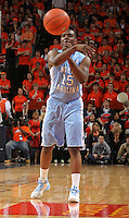 North Carolina Tar Heels guard P.J. Hairston (15) passes the ball during the game against Virginia in Charlottesville, Va. North Carolina defeated Virginia 54-51.