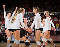 STANFORD, CA - November 4, 2018: Kathryn Plummer, Jenna Gray, Morgan Hentz, Mackenzie Fidelak, Holly Campbell, Michaela Keefe at Maples Pavilion. No. 2 Stanford Cardinal defeated the Utah Utes 3-0.