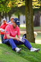Russell Knox (SCO) takes a break on the 7th tee while awaiting the group ahead of him to finish putting during round 2 of the World Golf Championships, Mexico, Club De Golf Chapultepec, Mexico City, Mexico. 3/3/2017.<br />