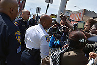 Baltimore, MD - April 25, 2015: Baltimore City police commissioner Anthony Batts talks to members of the media gathered near the Baltimore Police Department's Western District Headquarters, April 25, 2015, as protestors gathered to demand police accountability in the death of Freddie Gray and protest police brutality. Gray died of a broken spine while in police custody.  (Photo by Don Baxter/Media Images International)