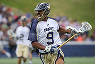 Annapolis, MD - April 15, 2017: Navy Midshipmen David Jones (9) in action during game between Army vs Navy at  Navy-Marine Corps Memorial Stadium in Annapolis, MD.   (Photo by Elliott Brown/Media Images International)