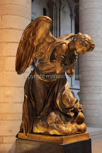 One of 2 angels sculpted by J J Caffieri in 1766, flanking the high altar of Rouen Cathedral or the Cathedrale de Notre Dame de Rouen, built 12th century in Gothic style, with work continuing through the 13th and 14th centuries, Rouen, Normandy, France. Picture by Manuel Cohen