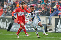 Bridgeview, IL - Saturday April 14, 2018: Jonathan Campbell, Ola Kamara during a regular season Major League Soccer (MLS) match between the Chicago Fire and the LA Galaxy at Toyota Park.  The LA Galaxy defeated the Chicago Fire by the score of 1-0.