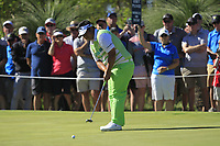 Kiradech Aphibarnrat (THA) in action on the 2nd during the Matchplay Final of the ISPS Handa World Super 6 Perth at Lake Karrinyup Country Club on the Sunday 11th February 2018.<br /> Picture:  Thos Caffrey / www.golffile.ie<br /> <br /> All photo usage must carry mandatory copyright credit (&copy; Golffile | Thos Caffrey)