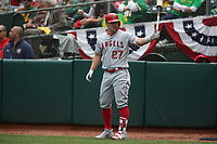 OAKLAND, CA - MARCH 28:  Mike Trout #27 of the Los Angeles Angels waits in the on deck circle against the Oakland Athletics during the game at the Oakland Coliseum on Thursday, March 28, 2019 in Oakland, California. (Photo by Brad Mangin)