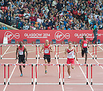Men's 400m hurdles round 1 heat 1, from left, Kenya's Boniface Mucheru, Wales' Dai Greene, England's Richard Yates and Papua New Guinea's Wala Gime.<br /> <br /> Photographer Chris Vaughan/Sportingwales<br /> <br /> 20th Commonwealth Games - Day 7 - Wednesday 30th July 2014 - Athletics - Hampden - Glasgow - UK