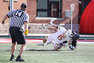 College Park, MD - February 18, 2017: Maryland Terrapins Steven Shollenberger (15) is pulled down by a High Point Panthers defender during game between High Point and Maryland at  Capital One Field at Maryland Stadium in College Park, MD.  (Photo by Elliott Brown/Media Images International)