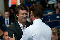 Sun 25 August 2013<br /> <br /> Pictured: Michael Laudrup, Manager of Swansea City shakes hands with Andreas villas-Boas<br /> <br /> Re: Barclays Premier League Tottenham Hotspur FC  v Swansea City FC  at White Heart Lane, Tottenham, London
