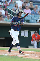 Danry Vasquez #13 of the Lancaster JetHawks bats during a playoff game against the Inland Empire 66ers at The Hanger on September 7, 2014 in Lancaster, California. Lancaster defeated Inland Empire, 5-2. (Larry Goren/Four Seam Images)
