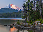 Mount Hood National Forest  <br /> Sunset light on the summit of Mount Jefferson, with reflections on Olallie Lake, Olallalie Lakes Scenic Area