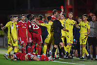 Fleetwood Town's Harrison Biggins is red carded by Referee Darren Handley<br /> <br /> Photographer Dave Howarth/CameraSport<br /> <br /> EFL Leasing.com Trophy - Northern Section - Group B - Tuesday 3rd September 2019 - Accrington Stanley v Fleetwood Town - Crown Ground - Accrington<br />  <br /> World Copyright © 2019 CameraSport. All rights reserved. 43 Linden Ave. Countesthorpe. Leicester. England. LE8 5PG - Tel: +44 (0) 116 277 4147 - admin@camerasport.com - www.camerasport.com