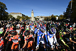 Riders wait for the start of the 111th edition of Il Lombardia 2017 &quot; The Race of the Falling Leaves&quot; the final monument of the season, running 247km from Bergamo to Como, Italy. 7th October 2017.<br /> Picture: LaPresse/Fabio Ferrari | Cyclefile<br /> <br /> <br /> All photos usage must carry mandatory copyright credit (&copy; Cyclefile | LaPresse/Fabio Ferrari)