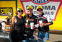Jul 28, 2019; Sonoma, CA, USA; NHRA top fuel driver Billy Torrence celebrates with wife Kay Torrence and son Steve Torrence after winning the Sonoma Nationals at Sonoma Raceway. Mandatory Credit: Mark J. Rebilas-USA TODAY Sports