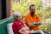 Nepal, Kathmandu. Riswo Gorkali (NYF Operations Director) with Olga Murray.