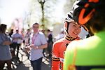 Race favourite Anna Van Der Breggen (NED) Boels Dolmans Cycling Team at sign on before La Fleche Wallonne Femmes 2018 running 118.5km from Huy to Huy, Belgium. 18/04/2018.<br /> Picture: ASO/Thomas Maheux | Cyclefile.<br /> <br /> All photos usage must carry mandatory copyright credit (© Cyclefile | ASO/Thomas Maheux)