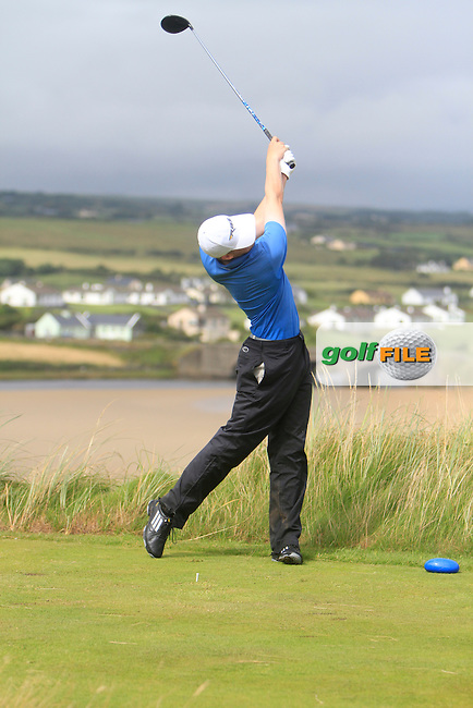 Simon O'Hara (Co. Louth) on the 9th tee during the South of Ireland Amateur Open Championship Final at Lahinch Golf Club  31th July 2013 <br /> Picture:  Thos Caffrey / www.golffile.ie