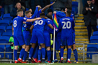 Junior Hoilett of Cardiff City (obscured) is mobbed after scoring his side's second goal during the Sky Bet Championship match between Cardiff City and Norwich City at the Cardiff City Stadium, Cardiff, Wales on 1 December 2017. Photo by Mark  Hawkins / PRiME Media Images.