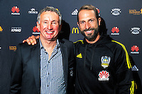 Coach Ernie Merrick with captain Andrew Durante after discussing his resignation from the Wellington Phoenix club at Newtown Park in Wellington, New Zealand on Tuesday, 6 December 2016. Photo: Dave Lintott / lintottphoto.co.nz