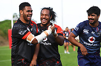 Sam Lisone, Agnatius Paasi and James Bell.<br /> Vodafone Warriors training session. Mt Smart Stadium, Auckland, New Zealand. NRL Rugby League. Wednesday 9 May 2018 &copy; Copyright photo: Andrew Cornaga / www.photosport.nz