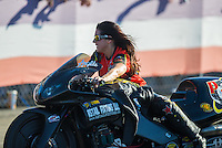 Nov 13, 2016; Pomona, CA, USA; NHRA pro stock motorcycle rider Angelle Sampey during the Auto Club Finals at Auto Club Raceway at Pomona. Mandatory Credit: Mark J. Rebilas-USA TODAY Sports