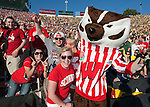 Wisconsin Badgers mascot Bucky Badger poses with fans during the 2012 Rose Bowl NCAA football game against the Oregon Ducks in Pasadena, California on January 2, 2012. The Ducks won 45-38. (Photo by David Stluka)