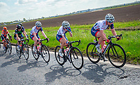 Picture by Alex Whitehead/SWpix.com - 03/05/2018 - Cycling - 2018 Asda Women's Tour de Yorkshire - Stage 1: Beverley to Doncaster - Rhona Callander, Megan Barker and Abbie Dentus of Great Britain.