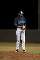 AZL Padres 2 relief pitcher Vijay Miller (38) prepares to deliver a pitch during an Arizona League game against the AZL Padres 1 at Peoria Sports Complex on July 14, 2018 in Peoria, Arizona. The AZL Padres 1 defeated the AZL Padres 2 4-0. (Zachary Lucy/Four Seam Images)