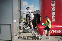 André Greipel (DEU/Lotto-Belisol) finds out that the steps to the podium are often more hazardous than the climb to the finish<br /> <br /> 2014 Belgium Tour<br /> stage 4: Lacs de l'Eau d'Heure - Lacs de l'Eau d'Heure (178km)