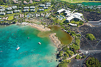 Aerial of Marriott Hotel at Waikoloa showing tsunami damage to beach