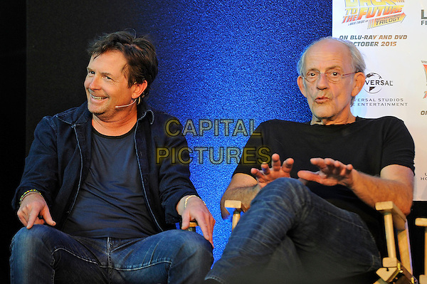 LONDON, ENGLAND - JULY 19: Michael J. Fox and Christopher Lloyd attending the London Film and Comic Con at Olympia London, on July 19, 2015 in London, England.<br /> CAP/MAR<br /> &copy; Martin Harris/Capital Pictures