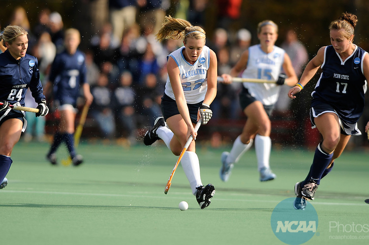 18 NOV 2007:  Danielle Forword (2) of the University of North Carolina battles Allison Scola (24) and Mallory Weisen (17) of Penn State University during the Division I Women's Field Hockey championship on the campus of the University of Maryland in College Park, MD. North Carolina defeated Penn State 3-0 to win the national title. ©Brett Wilhelm/NCAA Photos