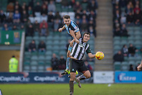 Matthew Bloomfield of Wycombe Wanderers beats Carl McHugh of Plymouth Argyle during the Sky Bet League 2 match between Plymouth Argyle and Wycombe Wanderers at Home Park, Plymouth, England on 30 January 2016. Photo by Mark  Hawkins / PRiME Media Images.