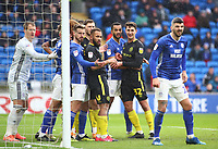 29th February 2020; Cardiff City Stadium, Cardiff, Glamorgan, Wales; English Championship Football, Cardiff City versus Brentford; Brentford players surround the goal during a corner to make things difficult for the Cardiff City defenders