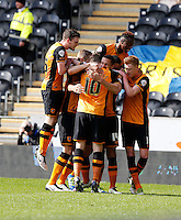 Hull City v Bristol City 2.4.16 .Sky Bet Championship ....... Hulls curtis davies is congratulated after scoring opening goal