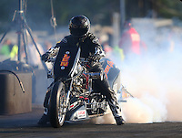 Jun 3, 2016; Epping , NH, USA; NHRA top fuel Harley motorcycle rider Len Darnell during qualifying for the New England Nationals at New England Dragway. Mandatory Credit: Mark J. Rebilas-USA TODAY Sports