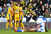 Nick Powell of Wigan Athletic is mobbed after scoring the first goal as Ovie Ejaria of Reading  injured during Reading vs Wigan Athletic, Sky Bet EFL Championship Football at the Madejski Stadium on 9th March 2019