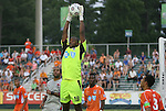 03 July 2012: Carolina's Ray Burse (18) catches the ball. The Carolina RailHawks defeated the Atlanta Silverbacks 2-1 at WakeMed Soccer Stadium in Cary, NC in a 2012 North American Soccer League (NASL) regular season game.